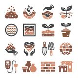 Soil icon set vector illustration. Soil and earth icon set vector and illustration Royalty Free Stock Images