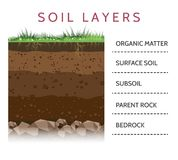 Soil layer scheme with grass. Dirt layers. Soil layer scheme with grass and roots, earth texture and stones vector illustration Stock Photos