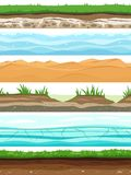 Soil layers. Campo ground surface land grass dried desert sand water. Ground levels seamless set royalty free illustration