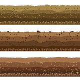 Soil layers set. Soil layers. Seamless underground earth surface, dirts layers or layered clay with rocks vector illustration Stock Images