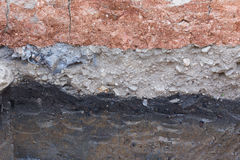 Soil layers in underground earth of science. Environment stock photography