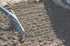 Rake. On the soil lie the garden rake. Close-up, Concept of gardening stock photos
