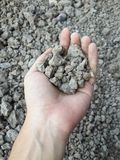 Soil on man hand Royalty Free Stock Photos
