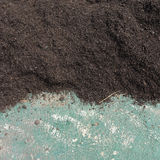 Soil manure compost prepared for a farmland Stock Photo