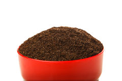 Soil in the red pot Royalty Free Stock Images