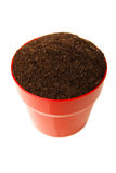 Soil in the red pot Stock Photo