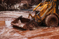 Soil after the red sludge accident Royalty Free Stock Image