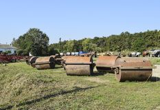 Soil rink. Presser and soil tamper on trailer for tractor. Trailer Hitch for tractors and combines. Trailers for agricultural machinery royalty free stock photos