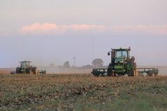 Soil ripping on a field in South Africa royalty free stock photo