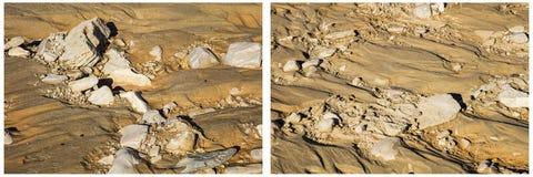 Soil rocks cropland erosion collage Stock Photo