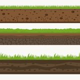 Soil Seamless layers ground layer. Stones and grass on dirts. Vector royalty free illustration