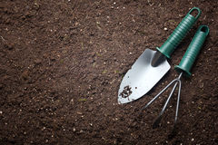Soil with shovel Stock Image