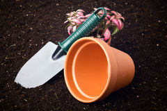Soil, spade and flower in pot Stock Photography