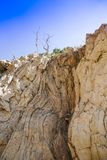 Soil or stone section under condition of the erosion stock images