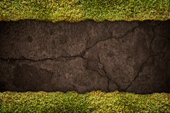 Soil texture with frame of grass. Soil texture with frame of green grass Stock Photo