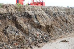 Soil under the road collapses. Royalty Free Stock Image
