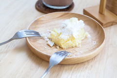 Soiled cake plate Royalty Free Stock Photos