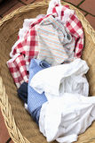 Soiled laundry in a basket Royalty Free Stock Photo