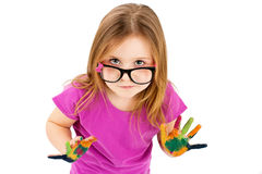 Soiled little girl with dirty hands Stock Photography