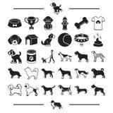 Soin, accessoires, élevage de chien et toute autre icône de Web dans le style noir teckel, Shorthair, icônes de textiles dans la  Photo stock