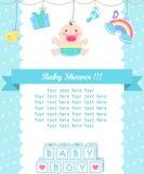 Soin de douche de bébé garçon avec l'endroit pour votre texte illustration libre de droits