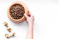 Soin des animaux familiers avec la nourriture sèche pour le chien dans la cuvette et la main en plastique sur l'espace blanc de v Photo stock