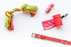 Soin des animaux familiers et outils rouges de toilettage sur la vue supérieure de fond blanc Photo libre de droits