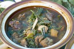 Soin Gai de Geang Poulet et légumes mélangés avec épices du nord, soupe épicée à poulet du nord de style avec des légumes, étable Images libres de droits