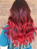 Soin rouge de don't de cheveux images stock