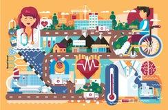 Soins de santé de médecine d'illustration de vecteur d'infirmière patiente de docteur de rétablissement de maladie de traitement  illustration libre de droits
