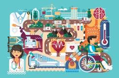 Soins de santé de médecine d'illustration de vecteur d'infirmière patiente de docteur de rétablissement de maladie de traitement  Images stock