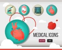 Soins de santé de vecteur et ensemble médical d'icône coloré Photo stock