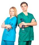 Soins de santé et concept médical - deux médecins avec des stéthoscopes photos stock