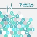 Soins de santé médicaux - vague d'impulsion et icône d'hexagone au sujet des médecins illustration de vecteur