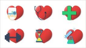Soins de santé six icônes de coeur Image libre de droits