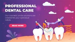 Soins dentaires professionnels de bannière plate horizontale illustration stock
