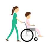 Soins et patients sur le fauteuil roulant dans l'hôpital illustration stock