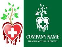 Soins médicaux courants de logo naturels Photo libre de droits