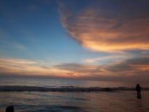 Soirée à la plage de Varca, Goa Images libres de droits