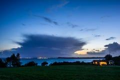 Soirée, baie d'Aarhus Photo libre de droits