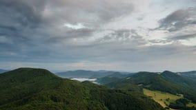 Soirée calme en nature avec les nuages gris se déplaçant au-dessus du laps de temps brumeux vert de forêt banque de vidéos