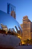 Soirée d'été à un centre de Chicago image libre de droits