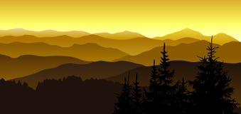 Soirée d'or aux montagnes illustration de vecteur