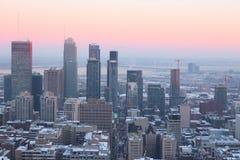 Soirée d'hiver de Montréal photo libre de droits