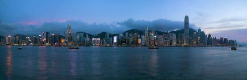 Soirée d'horizon de Hong Kong Island Central City Images libres de droits