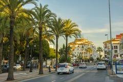 Soirée dans la ville de Marbella, Andalousie, Espagne Image libre de droits
