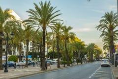 Soirée dans la ville de Marbella, Andalousie, Espagne Photos stock