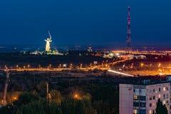 Soirée dans la ville de Volgograd La ville de héros Images libres de droits