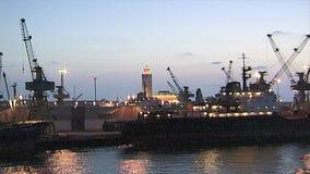 Soirée dans le port de Casablanca banque de vidéos