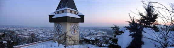 Soirée de l'hiver à Graz Photographie stock libre de droits